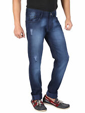 WineGlass Mens Blue Casual Solid Tapered Destroyed Stretch Jeans for Mens 337DK
