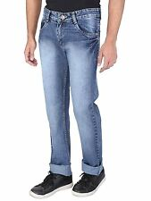 WineGlass Mens Blue Casual Solid Tapered NON  Stretch Jeans for Mens 369CH