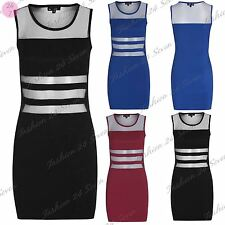 New Womens Ladies Lace Mesh Stretchy Slim Fit Contrast Mini Bodycon Dress