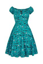 Collectif Dolores 50s American Car Print Teal Green Doll Mini Dress