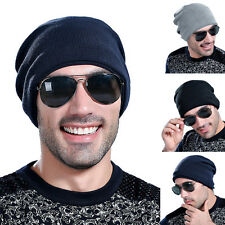 New Unisex Women Mens Fleece Lined Winter Warm Ski Crochet Slouch Hat Cap Beanie