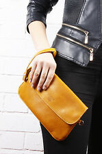 Ocher Pochette Real Goat Leather Envelop Clutch Bag