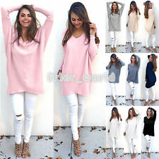 Womens V Neck Chunky Knitted Oversized Baggy Sweatshirt Ladies Jumper Tops Dress