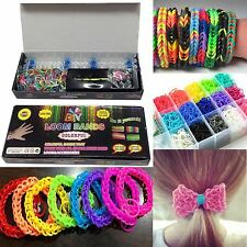 Colourful Loom Bands Rainbow Rubber Bracelet Making Kit DIY Childrens Craft