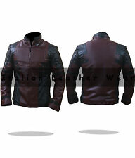 New Mens Red & Black Real Leather Motorcycle Bike Racer Rider Padding Jacket