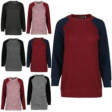 Womens Chunky Knitted Contrast Sleeves Oversized Jumper Ladies Baggy Sweater