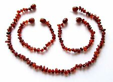 Genuine Baltic amber necklace or bracelet anklet for child, dark cognac baroque