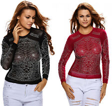 Sparkle Stone Long Sleeve Stretchy Mesh Top size 6-16