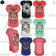 Womens Ladies Side Ruched Batwing Casual Baggy Vest Gold Tiger Face T Shirt Top