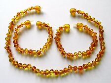 Genuine Baltic amber necklace or/and bracelet anklet for child, big honey beads