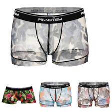 Sexy Mens Voile Sheer Rose Flower Underwear Boxer Briefs Shorts Pants Nightwear