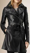 Women Black Genuine Leather Trench Coat