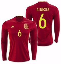 ADIDAS A. INIESTA EURO 2016 SPAIN LONG SLEEVE HOME JERSEY Scarlet/Bright Yellow