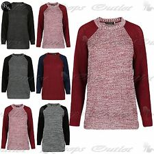 Ladies Contrast Sleeves Baggy Sweater Womens Oversized Chunky Knitted Jumper