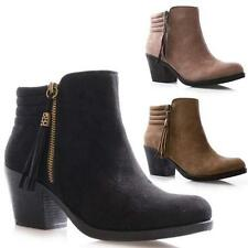 NEW LADIES WOMENS MID BLOCK HEEL FAUX SUEDE ANKLE FASHION CHELSEA BOOTS SHOES
