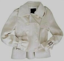Alpha Industries Womens Winter White Double Breasted Short Wool Cashmere PeaCoat