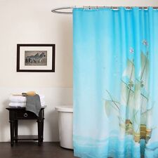 180×180CM Blue Fabric Shower Curtain Sailing Polyester Waterproof Bathroom Hooks