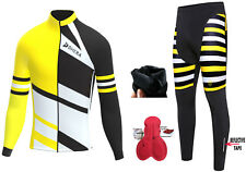 Mens Cycling Jersey Cold Wear Thermal Top+Cycling Tights Pants For Winter