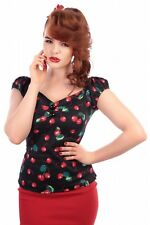 Collectif Dolores 50s Vintage Style Cherry Print Top