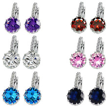 Women Fashion Jewelry Earrings CZ Crystal Silver Tone Drop Dangle Cubic Zirconia