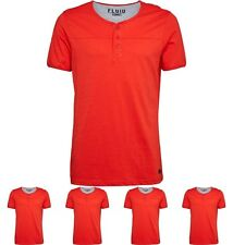 IN SVENDITA Fluid Mens Grandad Neck T-Shirt Red XXL