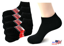 New 6, 12 Pairs Mens Womens Unisex Black Sports Athletic Ankle Socks Cotton