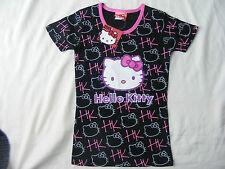 GIRLS OFFICIAL SANRIO HELLO KITTY BLACK T SHIRT AGE 8 YEARS NEW