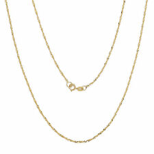 10k Fine Gold Ultra Thin Singapore Chain Necklace, 0.05 Inch (1.3mm)