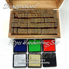 70 Handwriting Alphabet Rubber Stamp Set Wooden Box Vintage style  + 6 Ink Pads