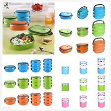 4 SIZES STAINLESS STEEL INSULATED LUNCH BOWL BOX BENTO FOOD CONTAINER HANDLE