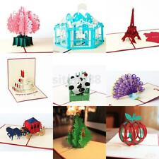 3D Pop Up Christmas Invitation Greeting Card Happy New Year Party Favor DIY Gift