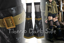 RQ-BL SP111 Black Faux Leather Stripes Bell Steampunk Boot Covers Leg Warmers