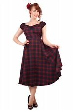Collectif Dolores 50s Style Navy Blue and Red Tai Tartan Doll Dress