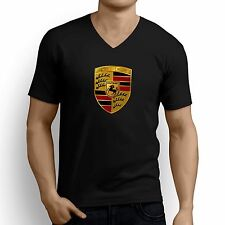 Printed Men V Neck tshirt /t shirt - Luxury Car Logo Printed T Shirt - Black