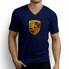 Printed Men V Neck tshirt /t shirt - Luxury Car Logo Printed T Shirt - Navy Blue