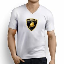 Printed Men V Neck tshirt /t shirt - Luxury Car Logo Printed T Shirt - White