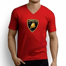 Printed Men V Neck tshirt /t shirt - Luxury Car Logo Printed T Shirt - Red