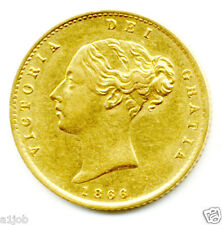 1866  QUEEN VICTORIA   GOLD HALF SOVEREIGN COIN