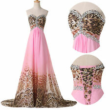 Sexy Leopard Long Chiffon Formal Party Ball Gown Cocktail Prom Bridesmaid Dress