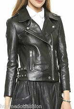 women Genuine  leather motorcycle jacket long sleeve sexy black coat Slim Fit