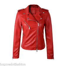 Lambskin Motorcycle Women Jacket Real Bomber in Indian Sheep Leather
