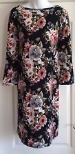 NEW~JOJO MAMAN BEBE~MATERNITY DRESS L 16 18  BLACK WHITE FLORAL KNITTED JERSEY