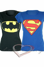 Womens SUPER HERO Batman & Superman T-Shirt Tops