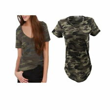 Stylish Women V-Neck Short Sleeve Camouflage Pattern T-Shirt Blouse Casual Tops