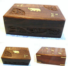 Hand Carved Wooden Box with Elephant Brass Inlay - Jewellery Trinket Momento Box