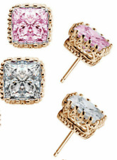 Gold Filled Popular Party Square Pink Or Clear Crown Hollow Zircon Stud Earrings
