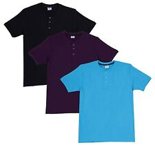 Fleximaa Men's Cotton Henley Neck T-Shirts (Pack of 3) (hbla-hblue-hpur)