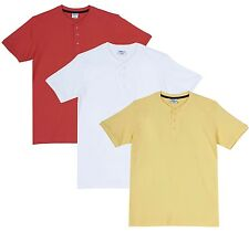 Fleximaa Men's Cotton Henley Neck T-Shirts (Pack of 3) (hwh-hyell-hcred)