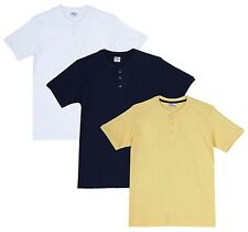Fleximaa Men's Cotton Henley Neck T-Shirts (Pack of 3) (hwh-hnbl-hyell)