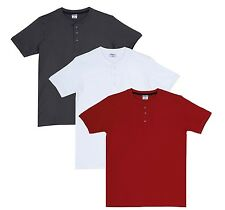 Fleximaa Men's Cotton Henley Neck T-Shirts (Pack of 3) (hwh-hred-hsgrey)